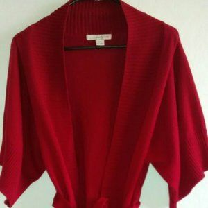 Forever 21 Women's Red Knit Tie Cardigan Sweater